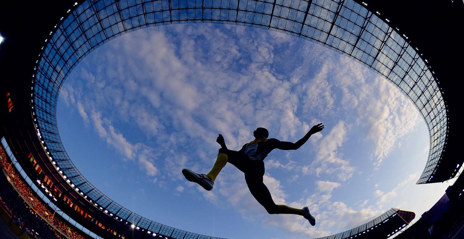 Sportveranstaltung Finals Berlin 2019 - Froschperspektive des Olympiastadions Berlin