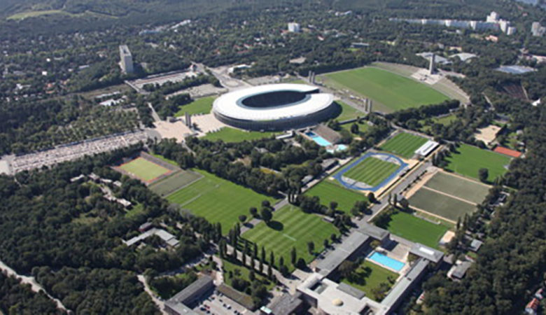 Vogelperspektive Olympiastadion und Olympiapark.