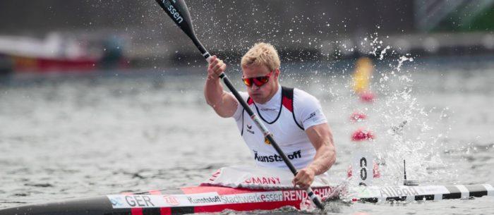 Athlet im Kajak. Der Kanusport ist seit vielen Jahren bei nationalen, internationalen und olympischen Wettkämpfen eine der erfolgreichsten Sportarten Deutschlands.