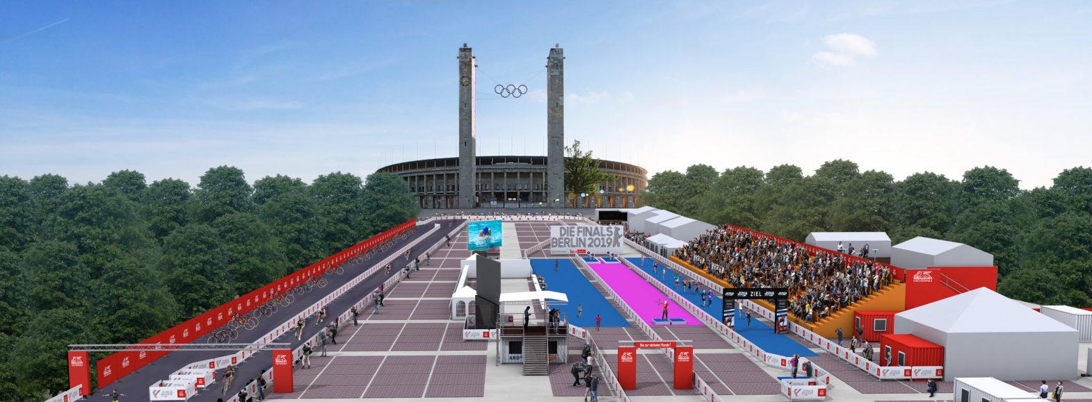 Animation des Stadions auf dem Olympischen Platz mit Tribünen, Zuschauern und Athletinnen und Athleten.